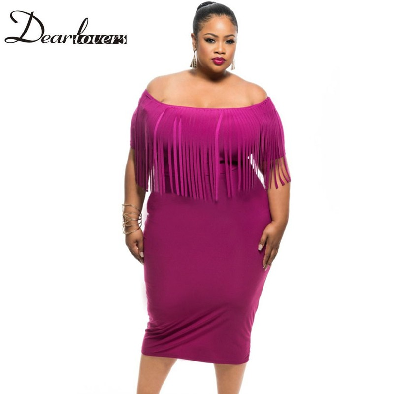 Online Get Cheap Rosy Short Sleeve Fringe Top Plus Size Dress ...