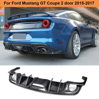 For Mustang Carbon Fiber Rear Bumper Diffuser Lip Spoiler for Ford Mustang Convertible Coupe 2 Door Only 2015 2017 USA Market