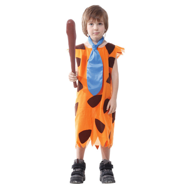 Charming Umorden Kids Children Primitive Savages Cosplay Stone Age Boys Costume  Halloween Carnival Fred Flintstone Costumes Party Dress