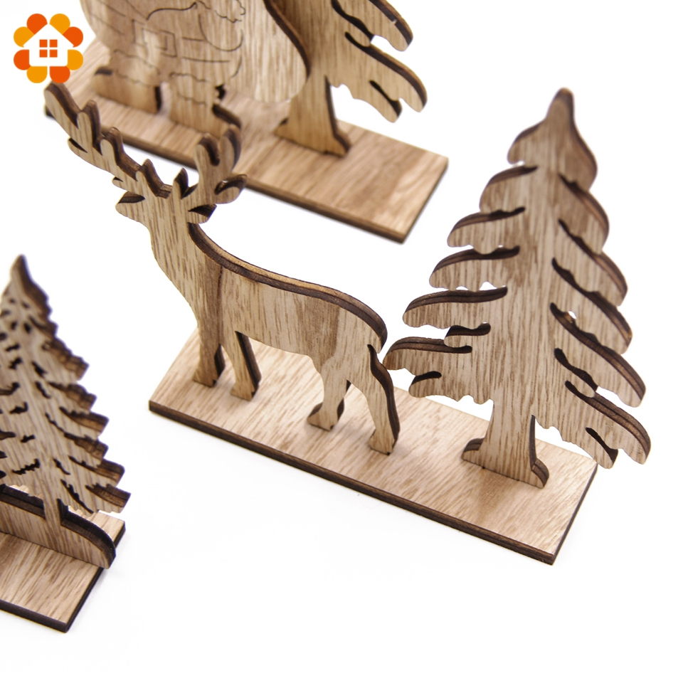 New 1set Natural Christmas Wooden Ornaments Diy Wood Crafts For Home