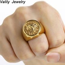 Valily мужское кольцо панк Золотой Лев кольцо 316L нержавеющая сталь байкер круглые ювелирные изделия кольца с животным вечерние мощность дизайн высокое качество драгоценность