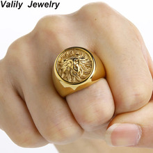 Valily Men Ring Punk Gold Lion Ring 316L Stainless steel Biker Round Animal Rings Jewelry Party Power Design high quality Jewel
