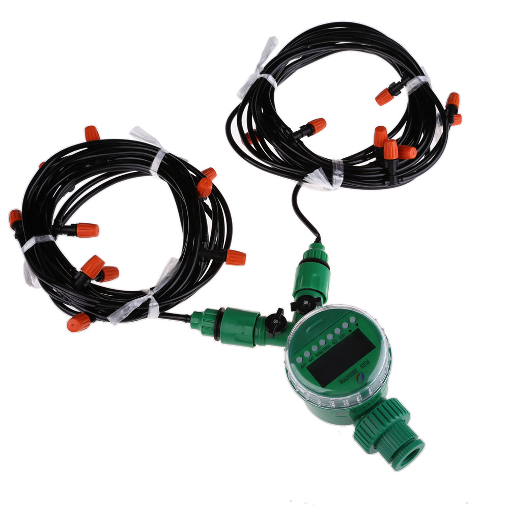 15m 4mm Hose with Micro Drip Irrigation Kit with Nozzle Sprinkler and Timer Garden Irrigation