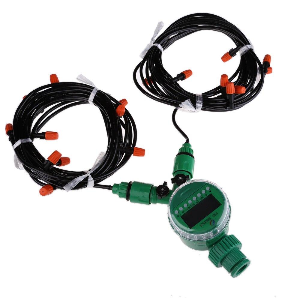 15 m 4mm Mangueira com Kit de Irrigação Por Gotejamento Micro com Bico Spray de Auto Rega de Aspersão e Temporizador de Irrigação Do Jardim Kits