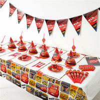 129pcs/lot Cartoon Cars Theme Baby Shower Boys Birthday Party Paper Tableware Festival Cars Cup Plate Gift Bag Blowout Supply