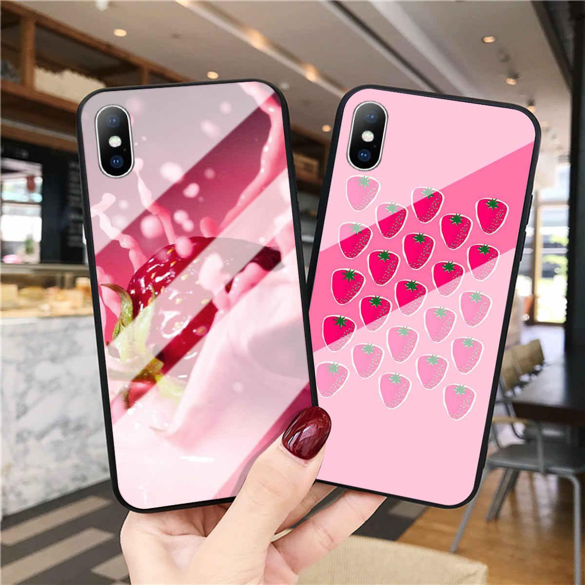 Truskawka szkło hartowane etui na telefony dla iphone 5 5S SE XS MAX XR truskawki tylna pokrywa dla iphone 8 7 6 6 S Plus twarda okładka