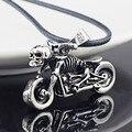 Masculino esqueleto gótico do punk motocicleta titanium aço inoxidável cadeia couro colar pingente x545