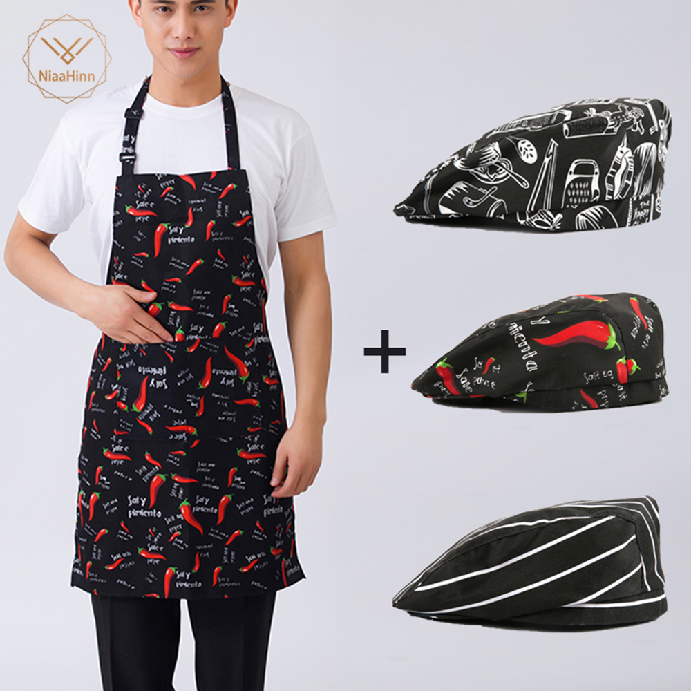 Niaahinn New Beauty Apron Apron + Hat Adjustable Half-length Adult Apron Striped Hotel Restaurant Chef Waiter Kitchen Cook Apron