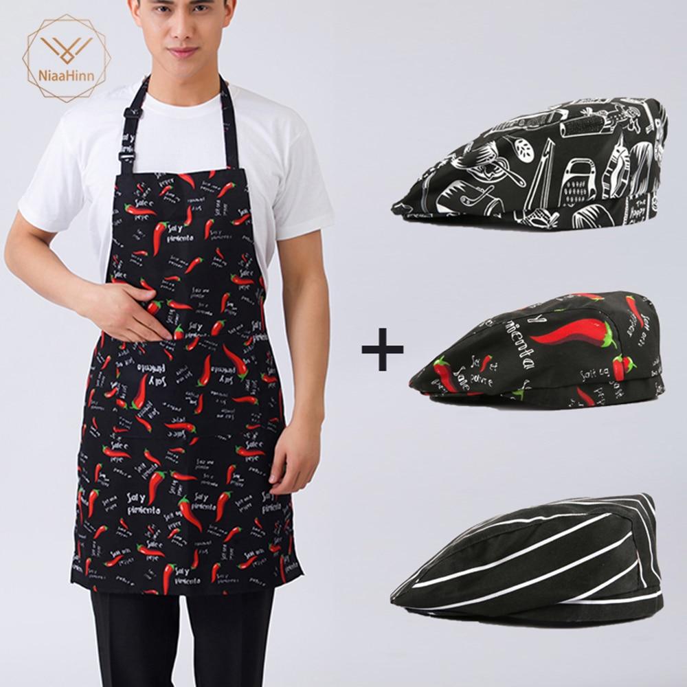 Niaahinn New Beauty Apron Apron + Hat Adjustable Half-length Adult Apron Striped Hotel Restaurant Chef Waiter Kitchen Cook Apron