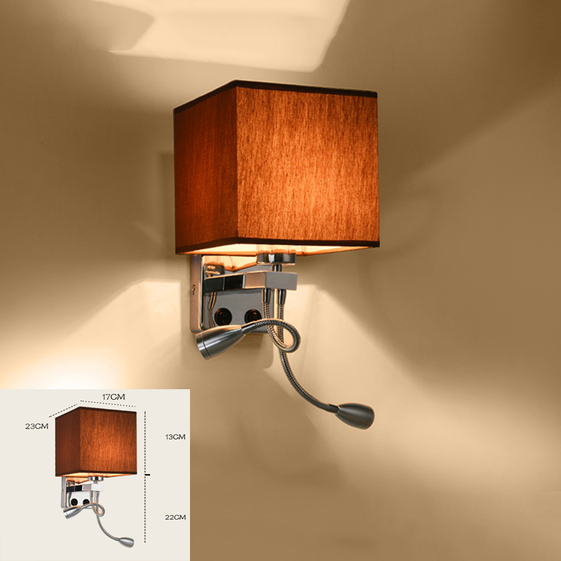 Modern wall sconce with switch wall bed lamps 1 or 2 pcs 1w led reading light hose rocker arm Reading lighting fabric lampshade free shipping 2 bedside wall lamp plumbing hose led reading light reading lamp fabric rocker arm wall lamp 5006 2