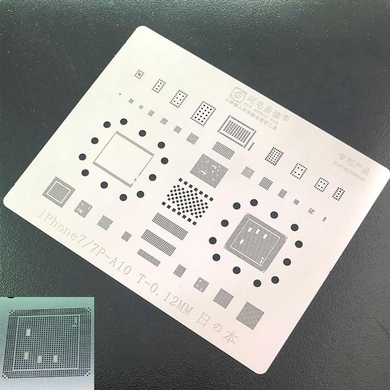 Multi-propósito Kit BGA Reballing Stencil para iPhone 6 6 P 6 S 6SP 7 7 P Chip IC CPU Solda De Estanho Planta Net 0.12 milímetros de Espessura