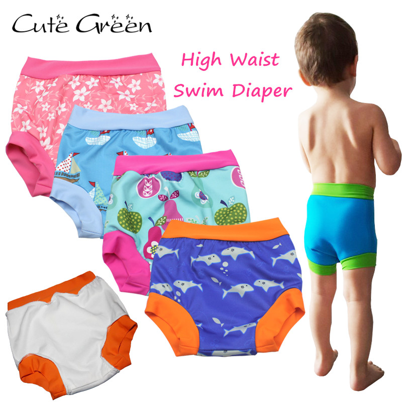 Alta cintura bebé nadar pañales para bebé Natación reutilizable Natación pañales Pañales de bebé lavable piscina pantalón; paño del bebé del panal del pañal