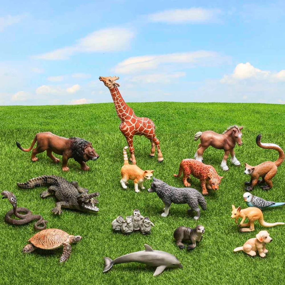 Certified Goods 16pcs Large Animals Model Set PVC 3D Anime Fingerlings Action Figures Toys For Children Wild Animal World Figma купить