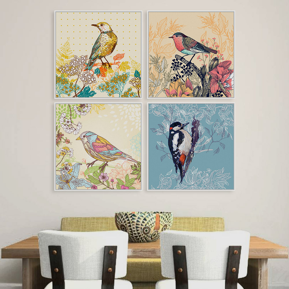 vintage colorful bird animal cottage flower a4 large art print poster rural wall picture canvas painting no frame room home deco