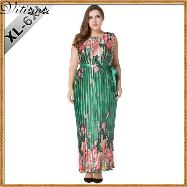 VITIANA Brand Womens Summer Elegant Beach Clothing Bohemian Green Print O Neck Maxi Long Party Dress Plus Size 5XL 6XL