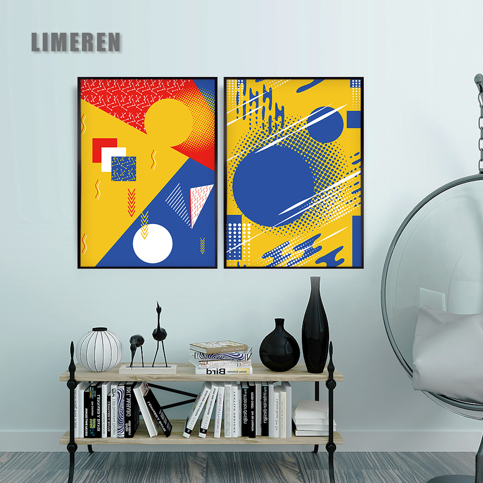 Modern Minimalistic Geometric Blue Modular Pictures Print Poster Decor Canvas Painting Wall Picture Art Home Decor in Painting Calligraphy from Home Garden