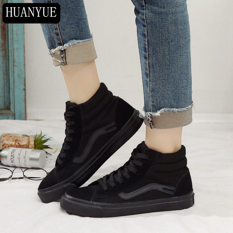 New 2018 Fashion Autumn Spring Solid Black Canvas Shoes High Top Women Casual Shoes Lace Up Breathable Platform Trainers Walking new spring men shoes trainers leather fashion casual high top walking lace up ankle boots for men red zapatillas hombre