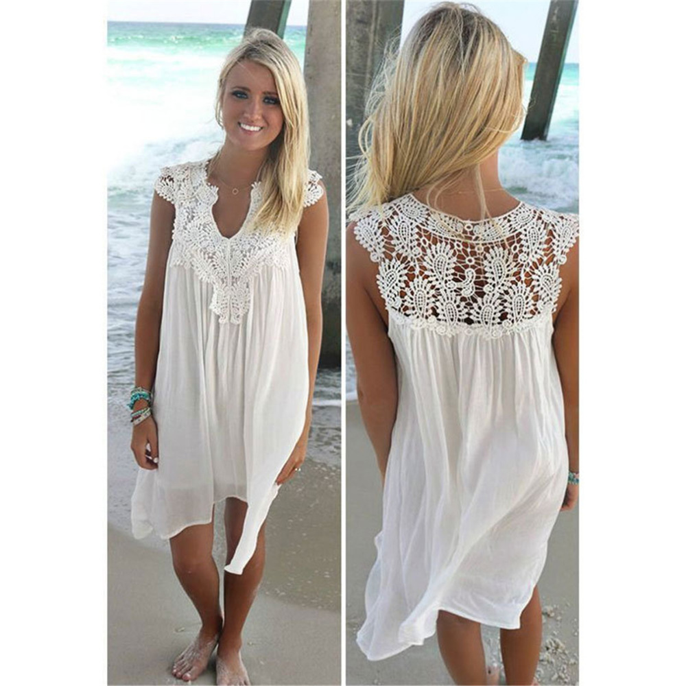 Summer Beach Sleeveless Short Lace Dresses Women
