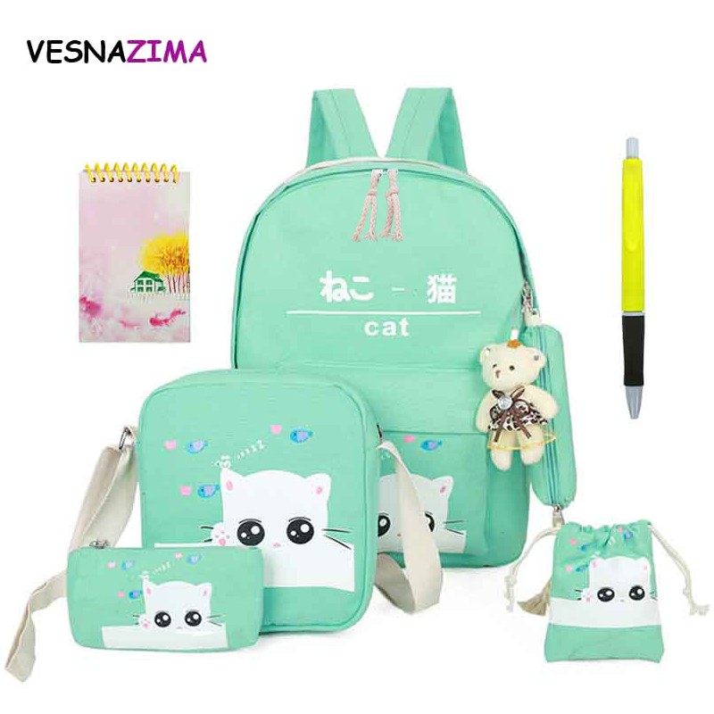 Satchel Canvas Backpacks School-Bags Girls Children for Escolares Orthopedic WM506Z 8set/Pcs