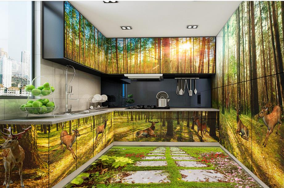 Custom 3d floor murals wallpaper deer woods vinyl flooring for Deer landscape wall mural