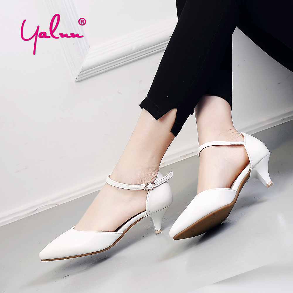 цены 3cm Fashion Low Heels Leather White Shoes Women Heels Summer Pointed Toe Sandals Women Buckle Black Pumps Women Low Heel Shoes