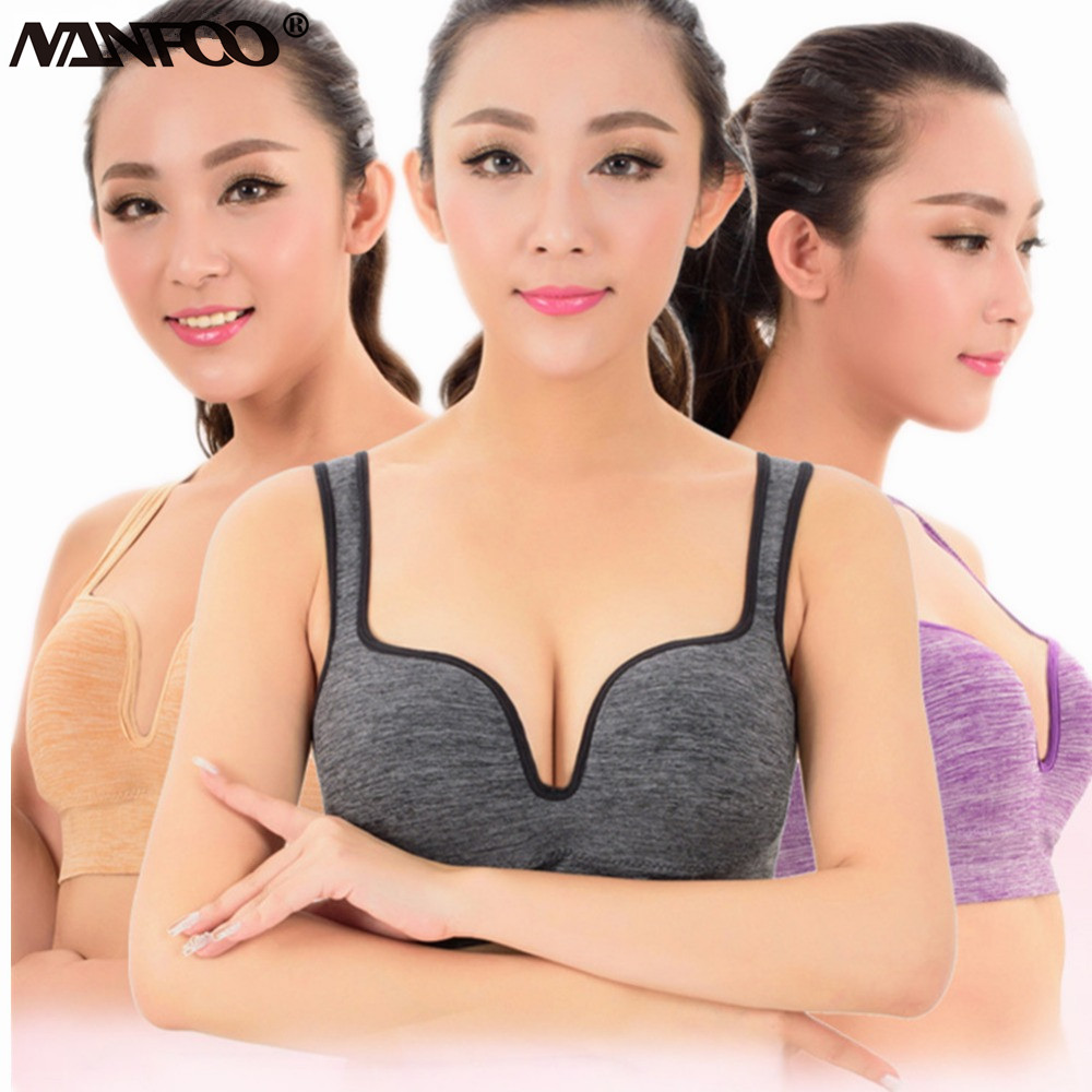 Professional 3D Sport Bra Women Wireless Push Up Yoga Bra