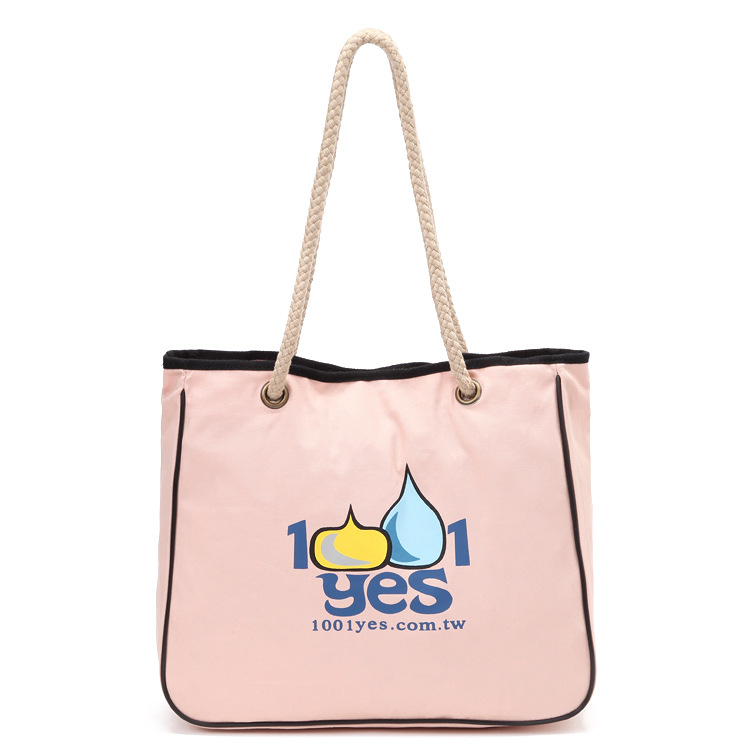 New Fashion Cotton Canvas Shopping Bag Rope Design Portable Shoulder Bag