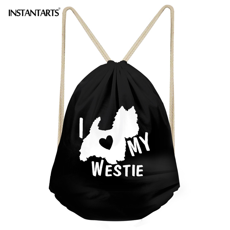 INSTANTARTS Man's Beach Travel Drawstring Bag Funny Animal Dog 3D Cute Westie Lift Print Black Men's String Backpack Cinch Sack