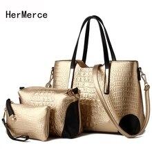HerMerce New Arrival 3 PCS Set Women Crocodile Pattern Bag Ladies Composite Bag Women Messenger Bags