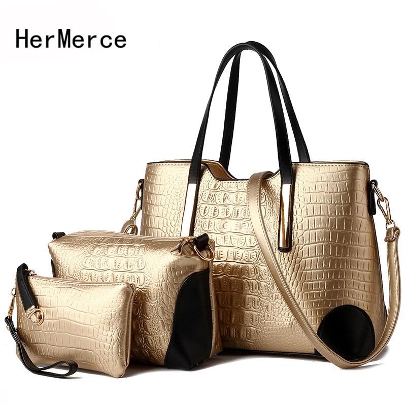 HerMerce New Arrival 3 PCS font b Set b font Women Crocodile Pattern Bag Ladies Composite