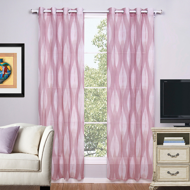 BBJ Pink Green Blue Curtains Solid Color Doris Fabric Perspective Window 1Piece