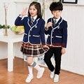 Kit roupas uniforme escolar das crianças e de manga comprida uniformes coro de leitura do estudante da escola alunos do ensino fundamental