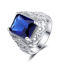 Real 925 Sterling Silver big Rings For Women blue CZ Stone Engagement Rings Cubic Zirconia Wedding Rings Vintage Jewelry Bijoux недорого
