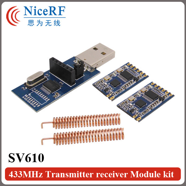 imágenes para 2 unids 100 mW interfaz TTL SV610 433 MHz módulo transceptor inalámbrico + 2 unids cobre antena primavera + 1 unids TTL tablero Puente USB