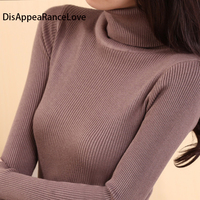 Autumn Medium Long Elastic Sweater Long Sleeve Sweater Female Basic Pullover Turtleneck