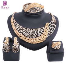 hot deal buy dubai gold color crystal necklace jewelry sets women customer fashion african beads jewelry set wholesale bridal accessories