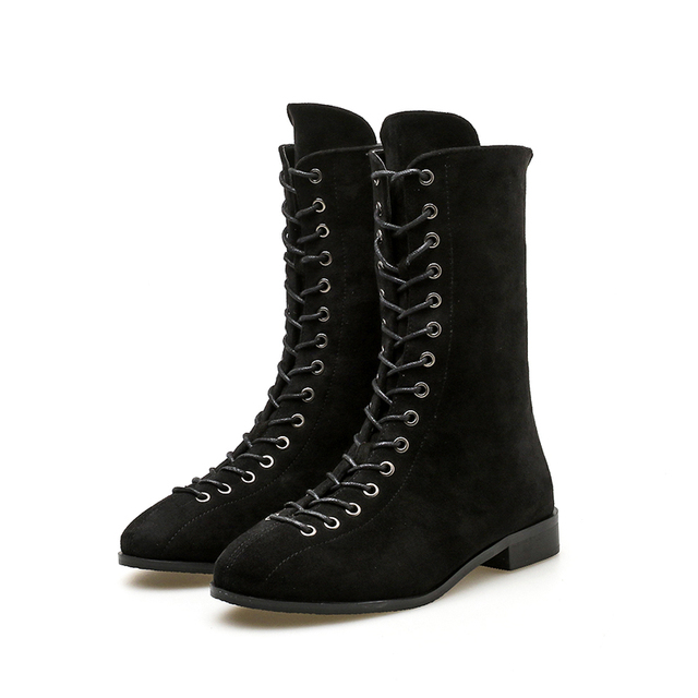 e137f980c94e Women Low Heel Mid-Calf Boots Fashion Lace Up Motorcycle Gothic Punk Boots  Autumn Back