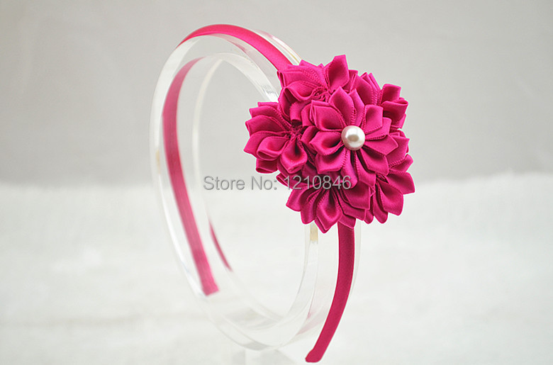 Girls Satin Ribbon Flower Headband With Pearl For Photography Props Kids Hairband 150pcs lot