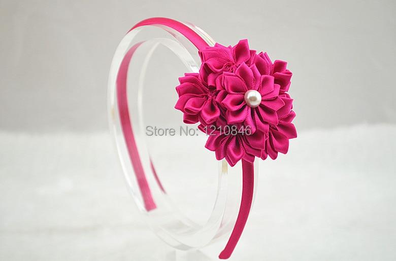 Повязка на голову с цветами и сатиновой лентой для девочек с жемчугом для фотосъемки, детский ободок для волос, 150 шт./лот