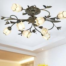 Nueva lámpara de techo de hierro y flor artística de estilo americano simple y elegante para sala de estar dormitorio estudio habitación
