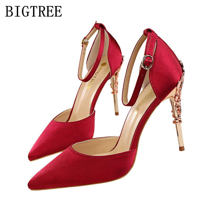 OL escarpins sexy womens super red high heels sandals pointed toe lolita shoes bigtree shoe set silk metal decoration pumps pink