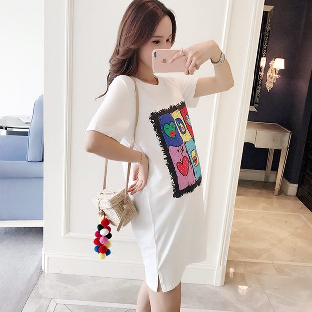 2018 spring and summer new women s clothing jacket tide mother cotton  bottoming Korean short-sleeved printing t-shirt 487946ed3ab9