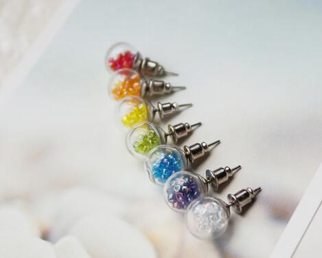 12mm Gl Bubble Stud Earring Pin Diy Ball Plug Earrings Ear Studs Not Include The Fillers In From Jewelry Accessories On