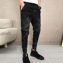 Jeans Men black Slim fit Classic fashion 2019 New Lace-up denim Pants Elastic Waist Male skinny stretch jeans eyelet lace up skinny empire jeans
