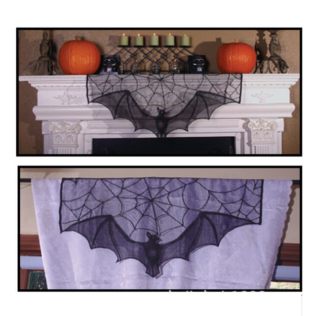 90x55cm Party Decor Black Spider Bat Net Lace Table Lamp Fireplace Scarf Valance Curtain For Window Door 1pc
