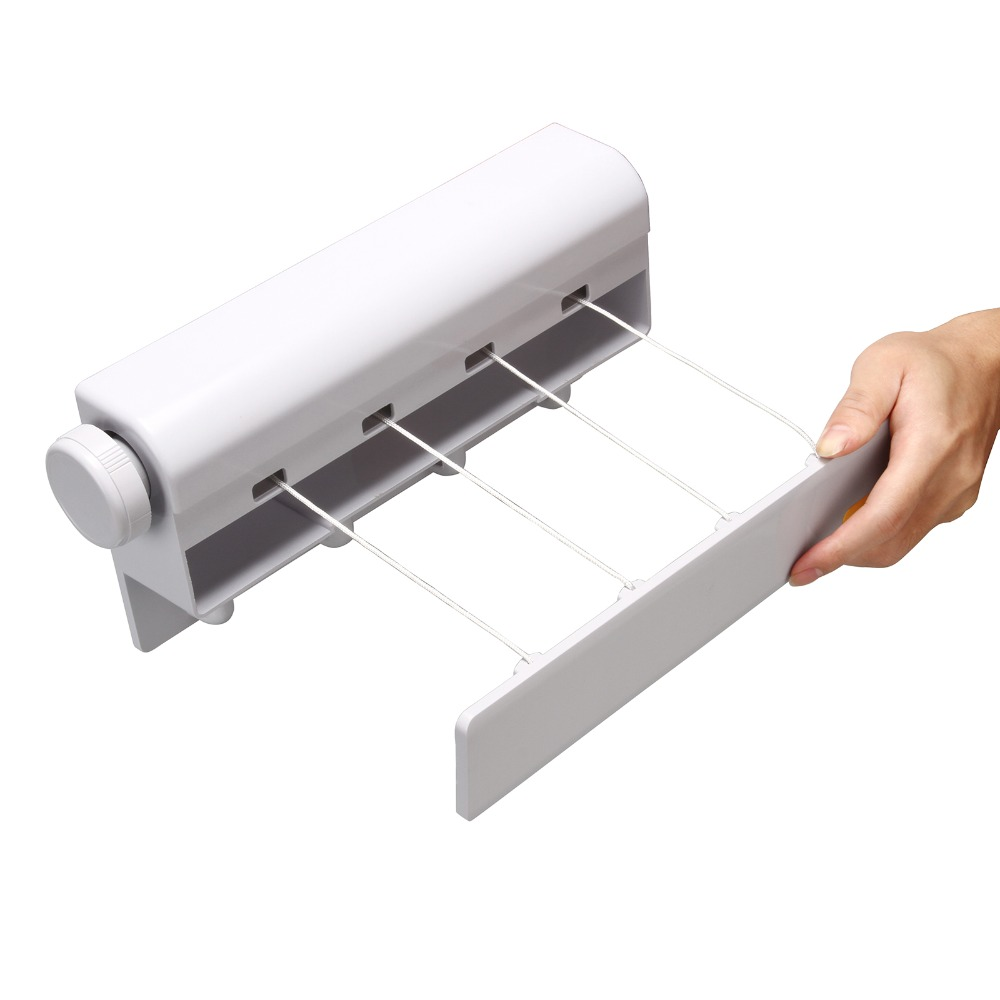4 Lines Retractable Clothesline Wall Mounted Clothes