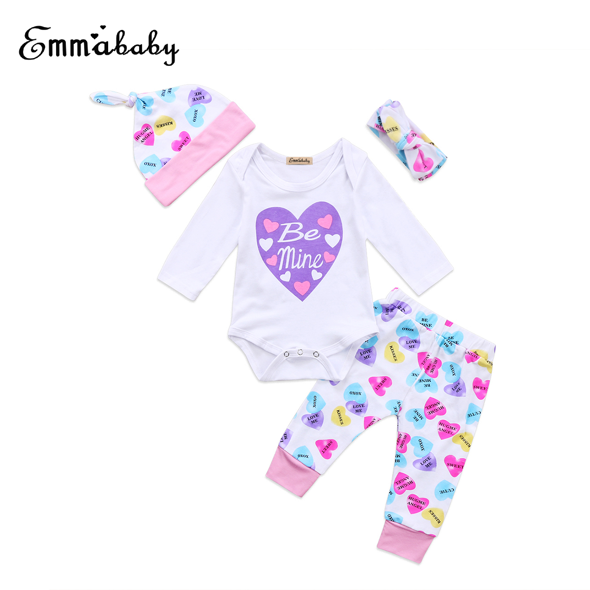 58bc8c7e9c0 2018 Newborn Baby Girls Love Pattern Printed Floral Valentine s Day Romper  Bodysuit Jumpsuit Headband Outfits Clothes Set
