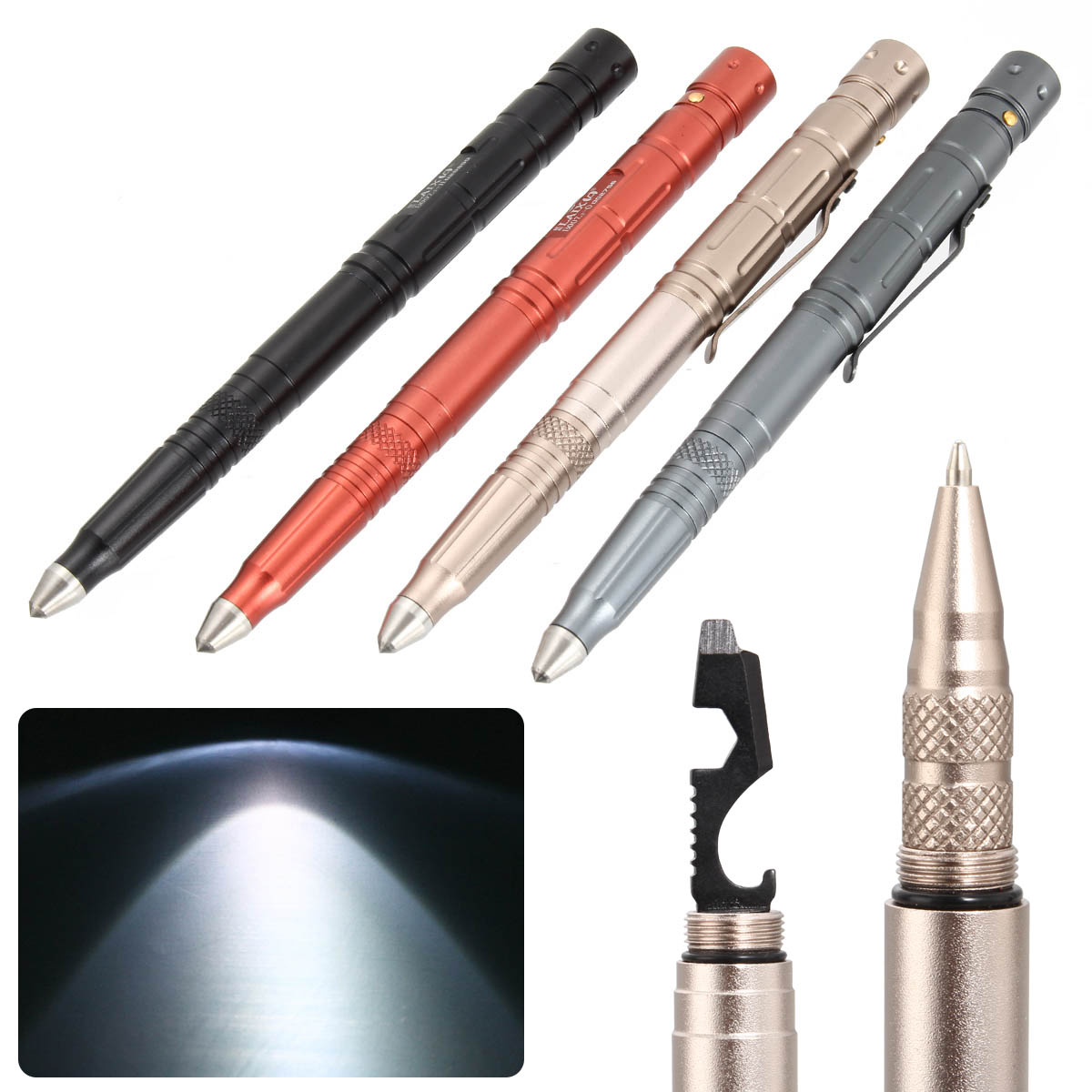 Multi-function Tactical Pen Survival Military LED Flashlight Glass Breaker Self Defense Tool Ballpoint Pens HJ55