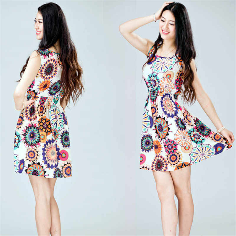 1PC Women Summer Sleeveless Sunflower Print Lady Casual Beach Mini Dress   3.20