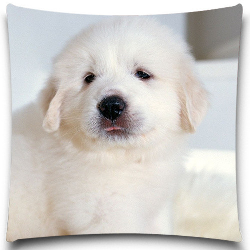 White dog lying on the table Cushion Cover Home Decorative 5 Size 9 style Cotton Polyester Pillow Case Christmas Halloween Gift